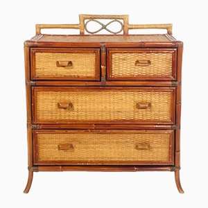 French Bamboo and Rattan Chest of Drawers, 1960s