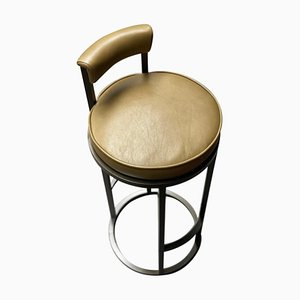 Powder-Coated Steel & Leather Diana Barstool with Backrest by Casa Botelho