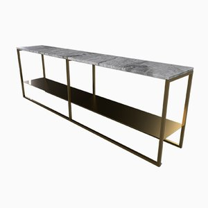 Eros Low Slim Console Table in Brass or Bronze Tinted and Marble by Casa Botelho