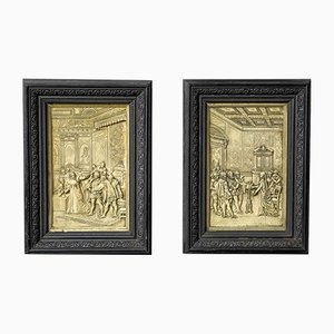 Victorian Cast Wax Pictures, Set of 2