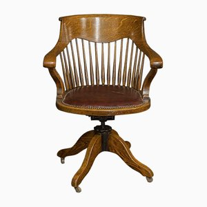 Antique Edwardian Oak Swivel Desk Chair