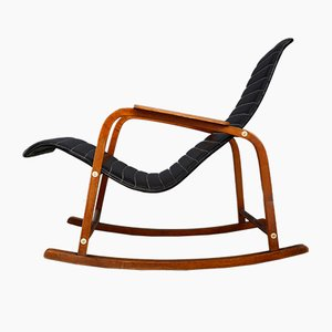 Vintage Italian Rocking Chair in Black Leather, 1950s