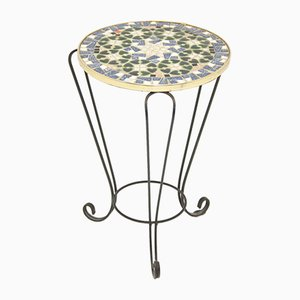 Vintage Round Black and Blue Mosaic Plant Table, 1960s