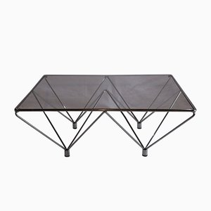Vintage Minimalist Low Chrome, Metal & Glass Coffee Table