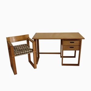Wooden Desk and Chair, 1960s, Set of 2