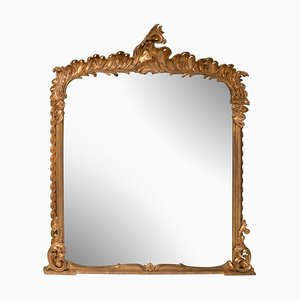 Georgian Hand-Carved Water Gilded Overmantle Mirror