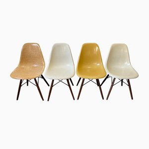 Mid-Century Walnut DSW Dining Chairs by Charles & Ray Eames for Herman Miller, Set of 4