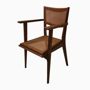 Vintage Cane and Wood Side Chair, 1950s