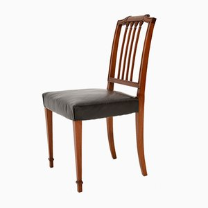 Antique Mahogany & Leather Dining Chairs, Set of 4