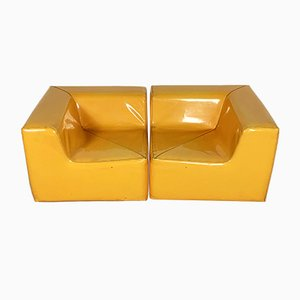 Modular Yellow Vinyl Sofa, 1980s, Set of 2