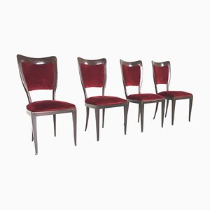 Mahogany and Crimson Velvet Dining Chairs by Paolo Buffa, Italy, 1950s, Set of 4