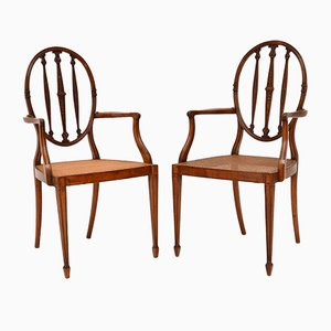 Antique Satinwood Cane Seated Armchairs, Set of 2