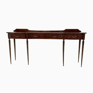 Large Mid-Century Mahogany Console Table with Brass Handles, Italy, 1950s