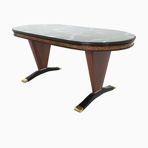 Oval Shaped Mahogany Dining Table with Green Marble Effect Top, Italy, 1950s
