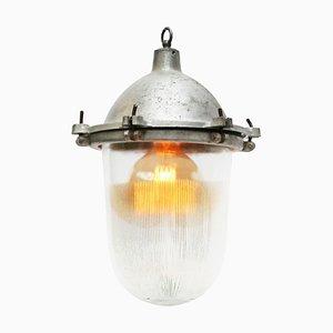 Industrielle Vintage Hängelampe aus Metall und gestreiftem Holophane Glas