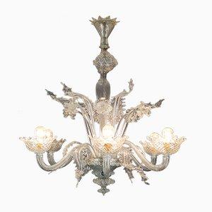 Lampadario a sei luci in vetro di Ercole Barovier per Barovier & Toso, anni '40