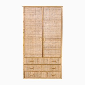 Wardrobes with 2 Doors in Wood, Bamboo & Wicker, 1970s, Set of 2