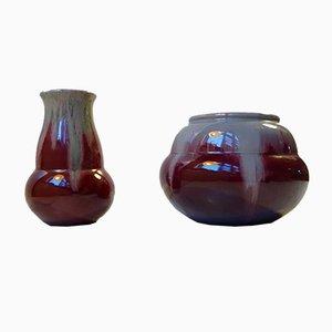 Dänische Art Deco Keramik Ochsenblut Vasen von Daniel Andersen für Michael Andersen & Son, 1930er, 2er Set