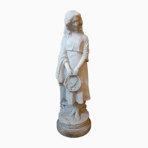 Figura antigua grande de alabastro de mujer joven de Curriny, década de 1900