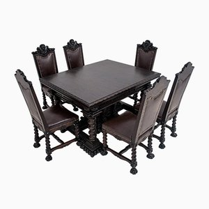 Baroque Dining Table & Chairs Set, Set of 7