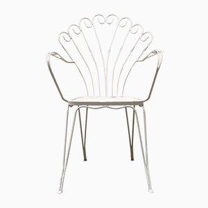 Sillas Rod italianas vintage de metal blanco curvado, años 50. Juego de 6