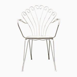 Vintage Italian White Curved Metal Rod Chairs, 1950s, Set of 6
