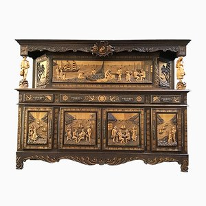 French Carved Oak Brittany Buffet or Sideboard from Bettler, 1950s