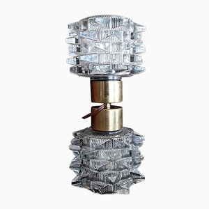 Vintage Dumbbell-Shaped Table Lamp with 2 Star-Shaped Glass Shades & Brass Mounting, 1970s