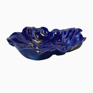 Blue Freeform Natura Dish by Ole Kortzau for Royal Copenhagen, 1990s