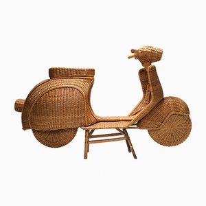 Bamboo Wicker Vespa Scooter, 1970s