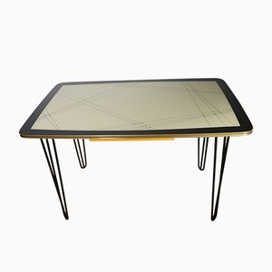 Mid-Century Kidney-Shaped Dining Table with Gold Edge