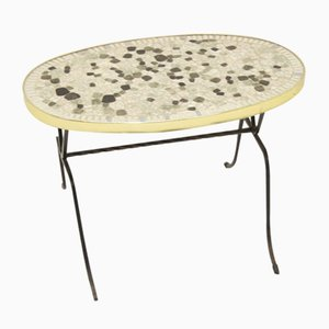 Mid-Century Elongated Round Mosaic Table or Plate Table