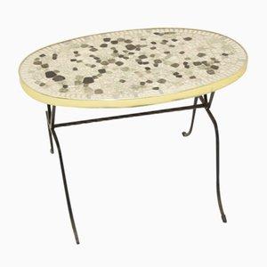 Runder langstickriger Mid-Century Tisch oder Tellertisch aus Mosaik