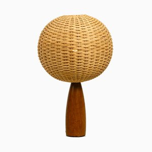 Large Danish Teak Table Lamp with a Modern Wicker Lampshade, 1960s