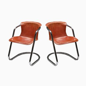 Tan Leather Chairs by Willy Rizzo for Cidue, 1970s, Set of 6