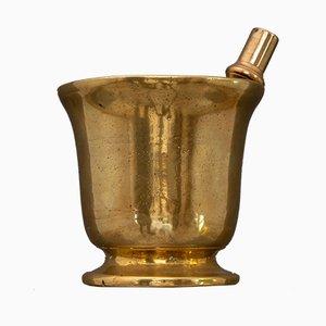 Italienisches Vergoldetes Mörser und Stößel Set aus Bronze, 17. Jh