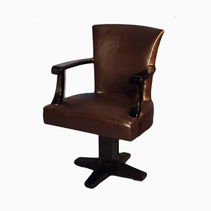 Art Deco Black Lacquered Wood and Leather Desk Chair, 1930s