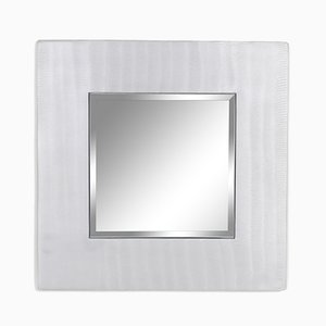 Cast Aluminium Square Mirror by Lorenzo Burchiellaro, 1970s