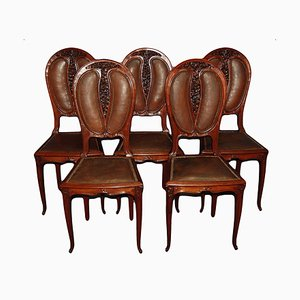 Antique Art Nouveau Mahogany and Leather Dining Chairs, Set of 5