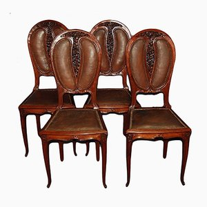 Antique Art Nouveau Mahogany and Leather Dining Chairs, Set of 4