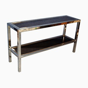 Chrome and Smoked Glass Console Table, 1970s
