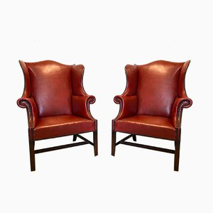 Antique Leather Winged Armchairs, Set of 2