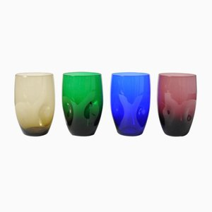 Multi-Colored Tumblers from Boussu, 1960s, Set of 4
