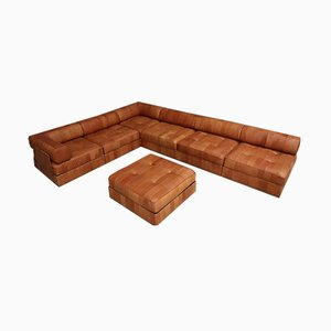 Vintage Landscape Patchwork Cognac Natural Leather DS88 Modular Sofa by de Sede, 1970s, Set of 7