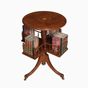 Antique Mahogany Inlaid Revolving Book Table