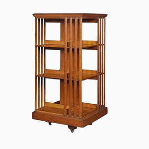 Antique Oak 3-Tier Revolving Bookcase