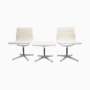 Mid-Century 105 Alu Chairs & 125 EA Ottoman by Charles & Ray Eames for Herman Miller, Set of 5