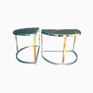 Chrome and Tinted Glass Side Tables, 1970s, Set of 2