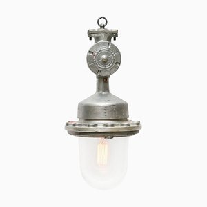 Vintage Industrial Silver Metal and Clear Glass Pendant Lamp