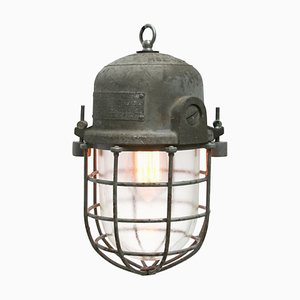Vintage Industrial Grey Metal and Clear Glass Pendant Cage Lamp